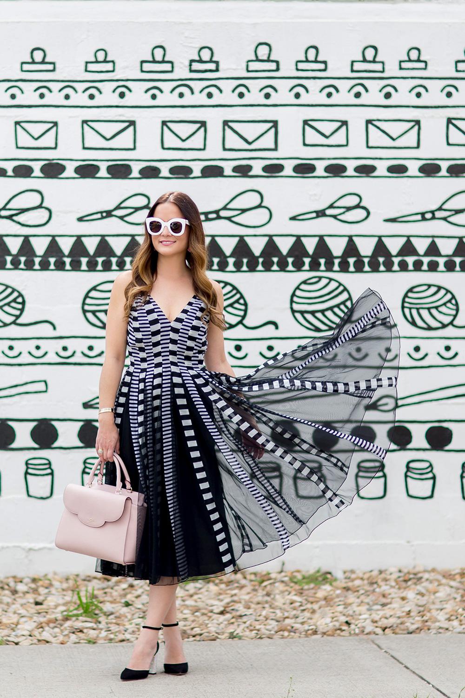 Black White Mesh Fit Flare Dress
