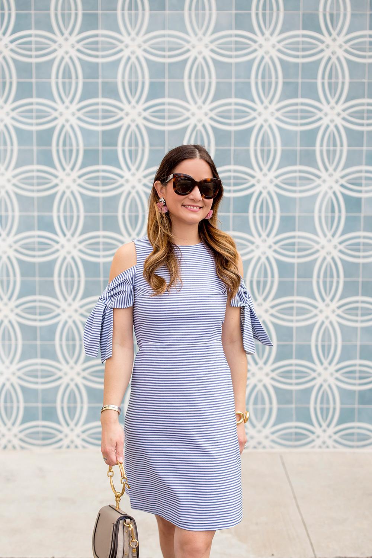 Blue Stripe Cold Shoulder Dress