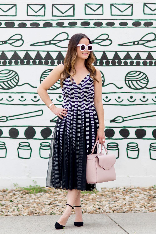 Cami Stripe Mesh Fit Flare Dress