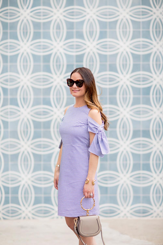 Cold Shoulder Bow Sleeve Dress