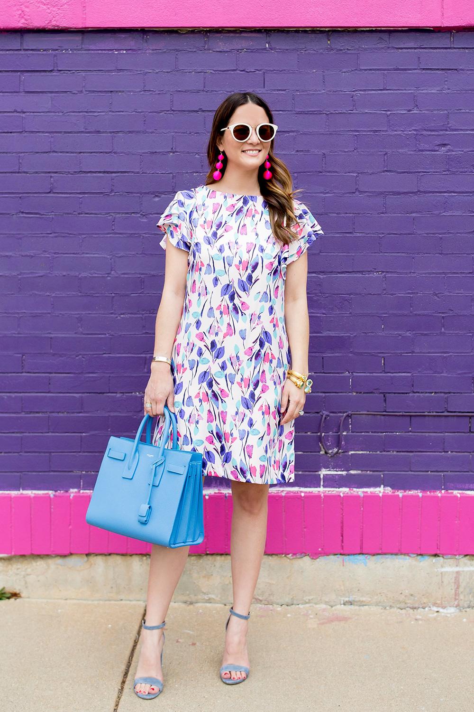 Donna Morgan Floral Flutter Sleeve Dress