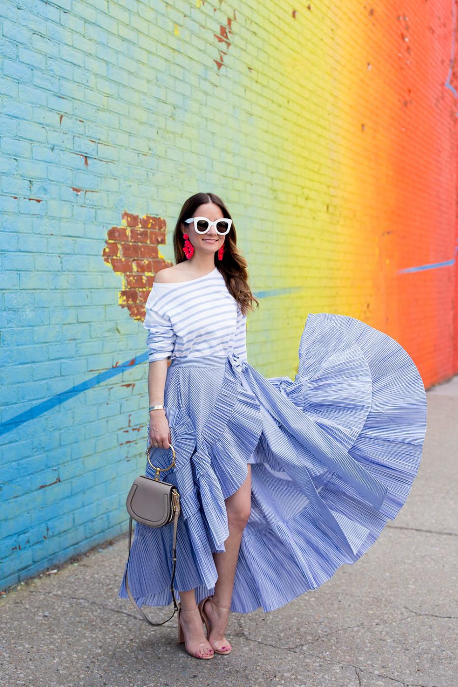 J Crew Blue Stripe Ruffle Skirt