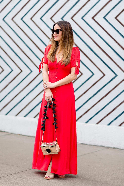 Karlie Kloss x Express Red Maxi Dress