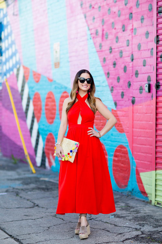 Mara Hoffman Red Cutout Midi Dress