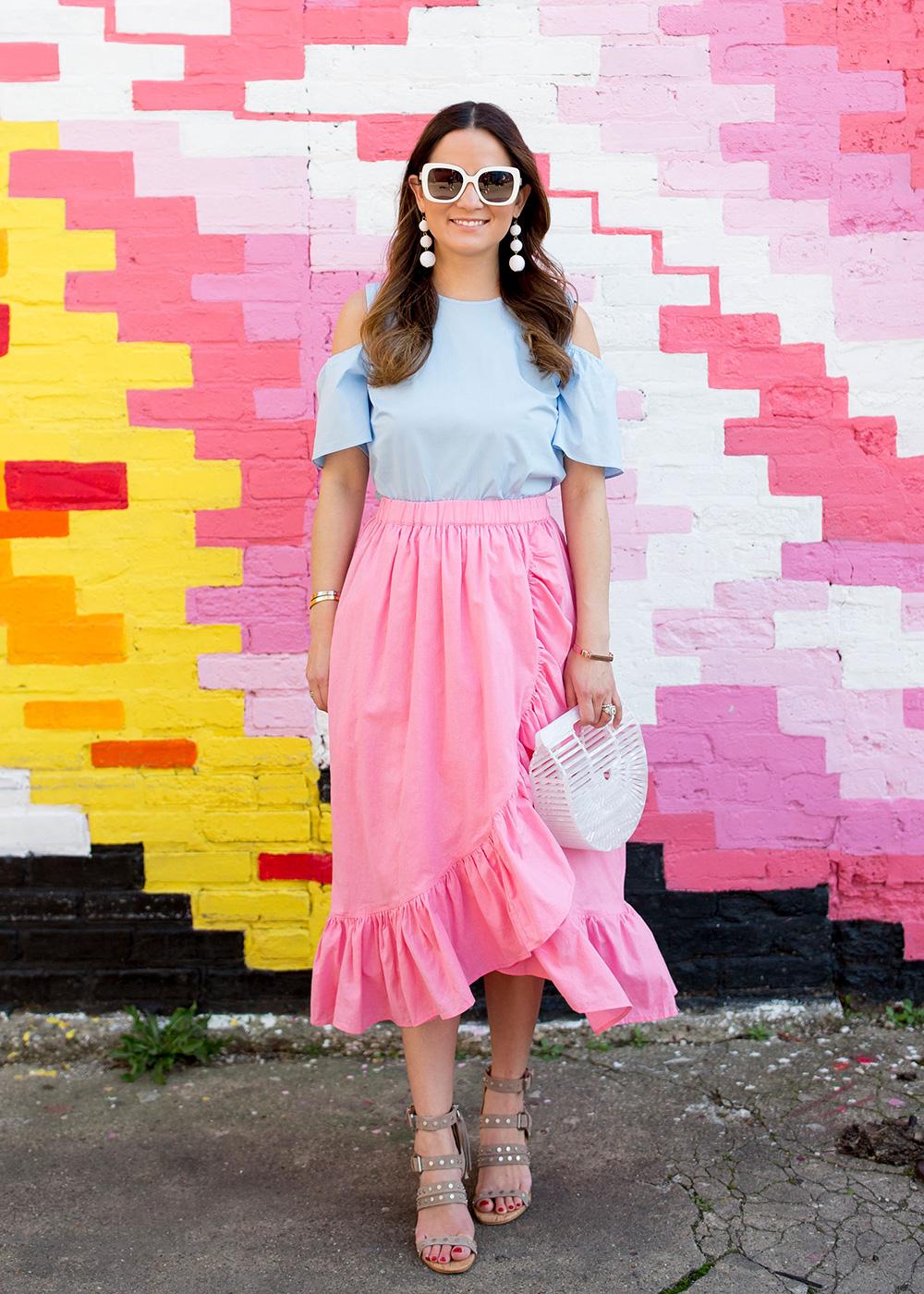 Pink Wrap Ruffle Midi Skirt