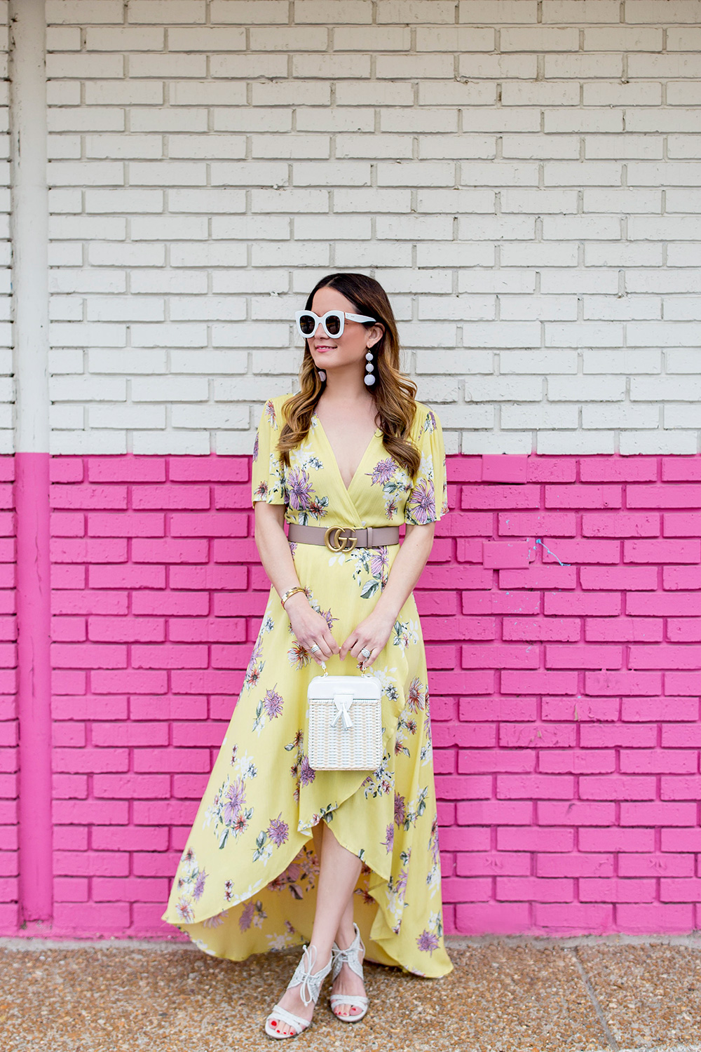 Yellow Floral Wrap Dress
