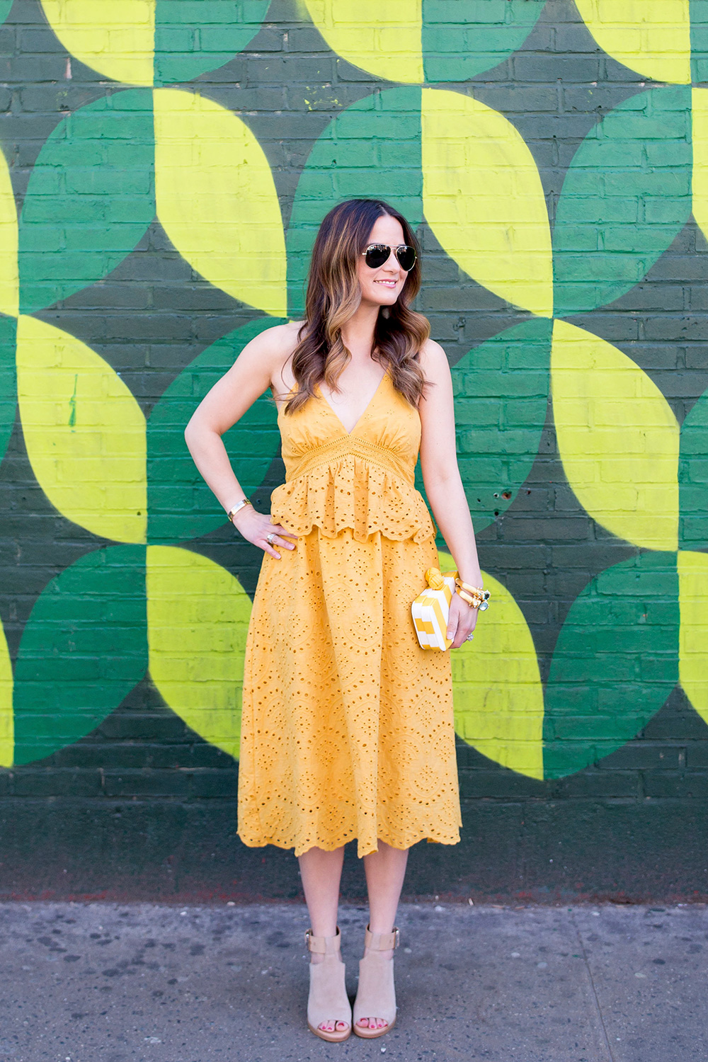 Yellow Lace Halter Midi Dress