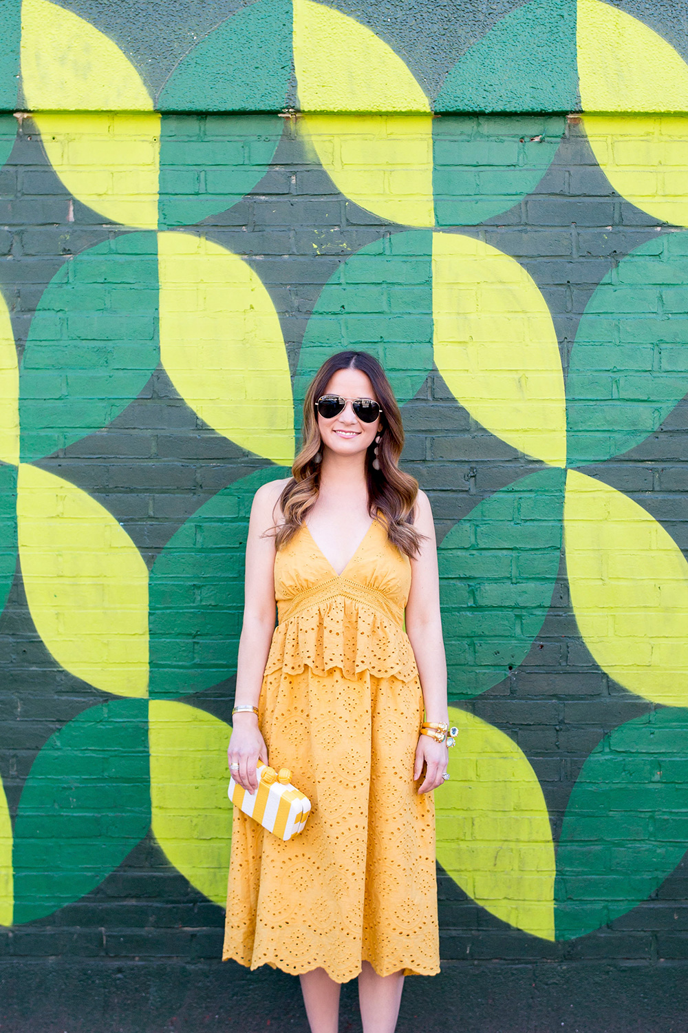 Yellow Lace Ruffle Midi Dress