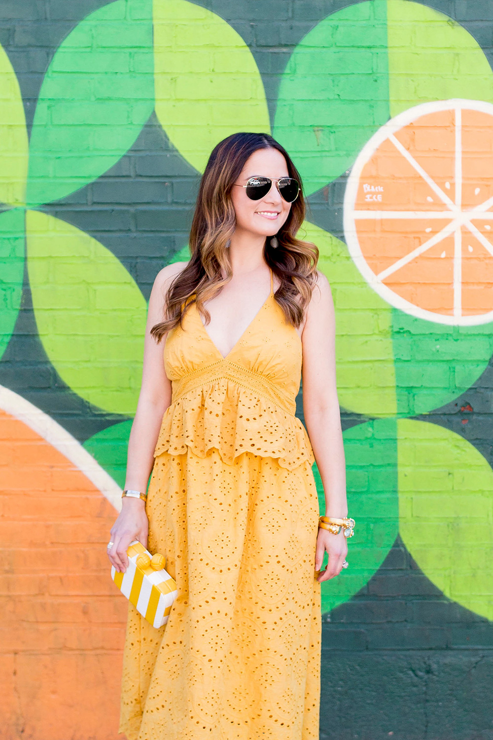 Yellow Peplum Halter Dress