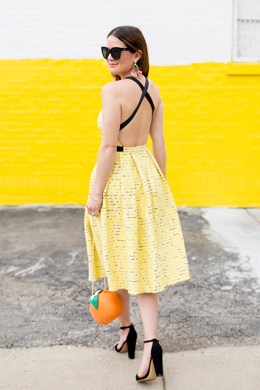 Backless Yellow Lace Dress