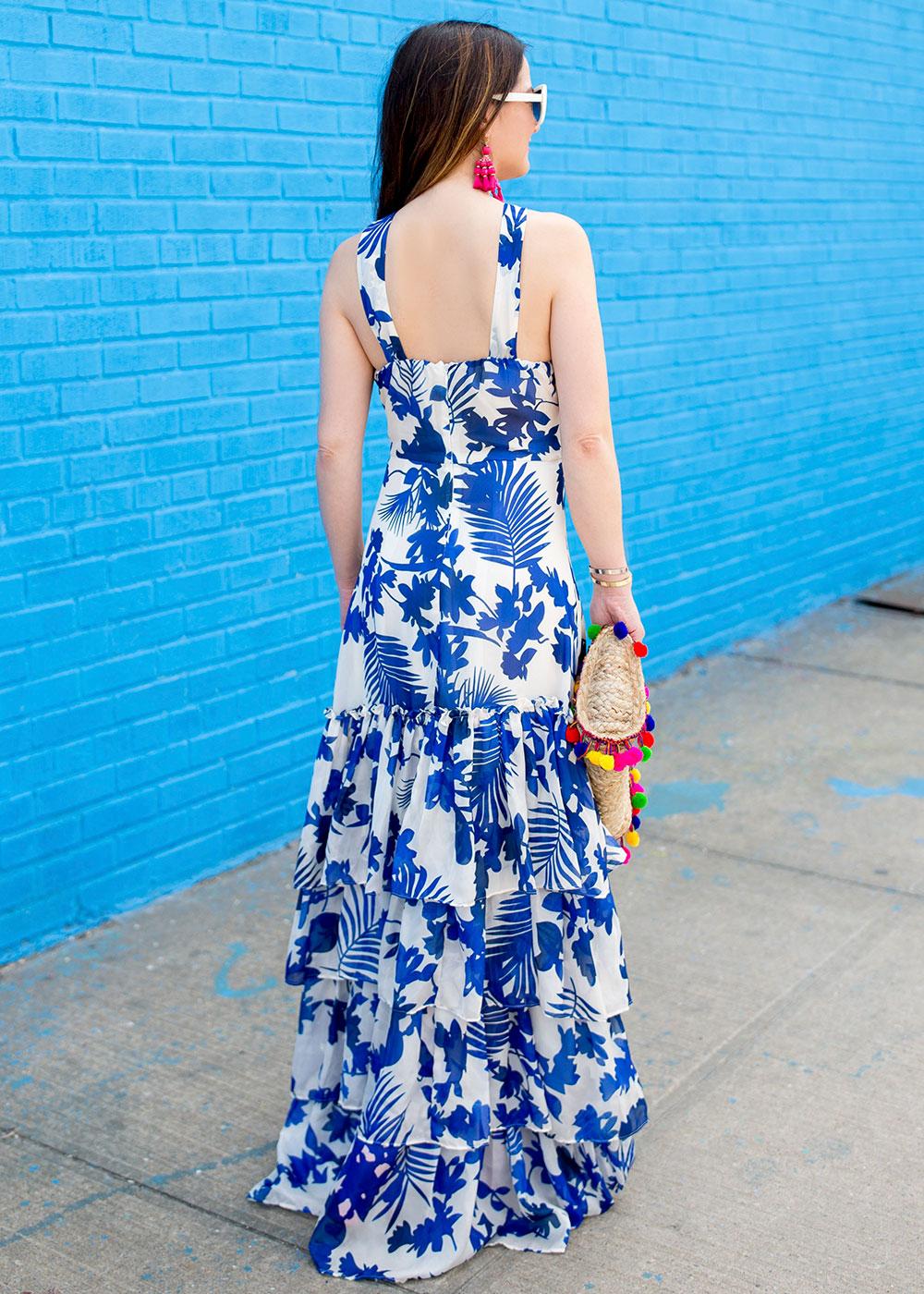 Blue Floral Ruffle Maxi Dress