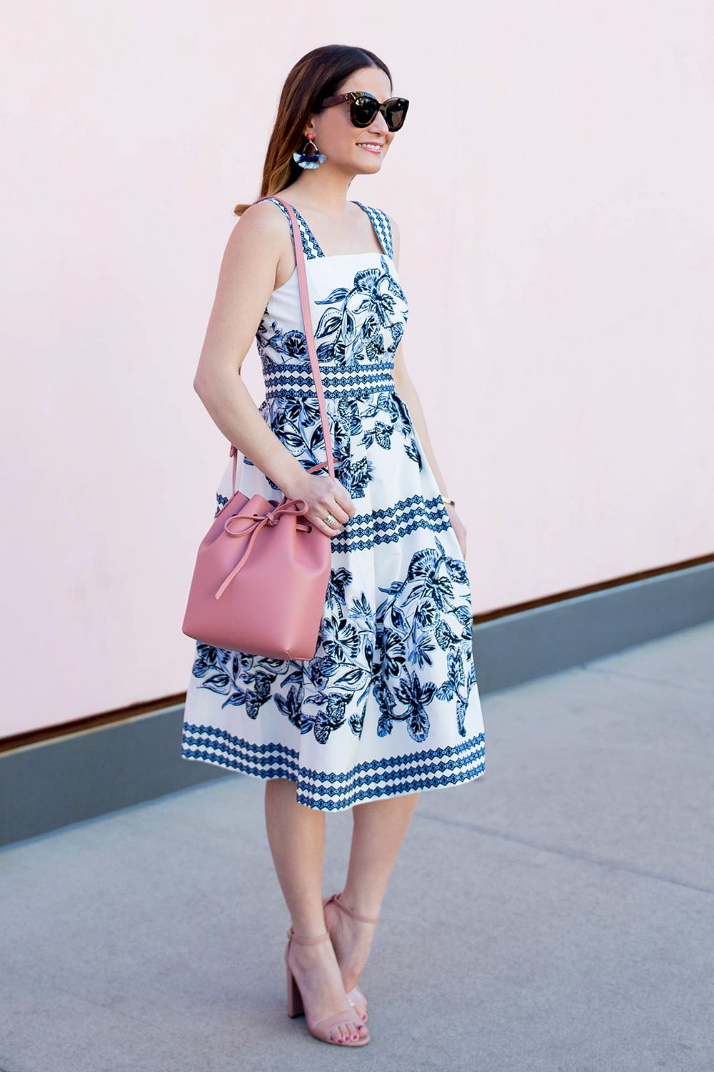 Blue White Floral Print Fit Flare Dress