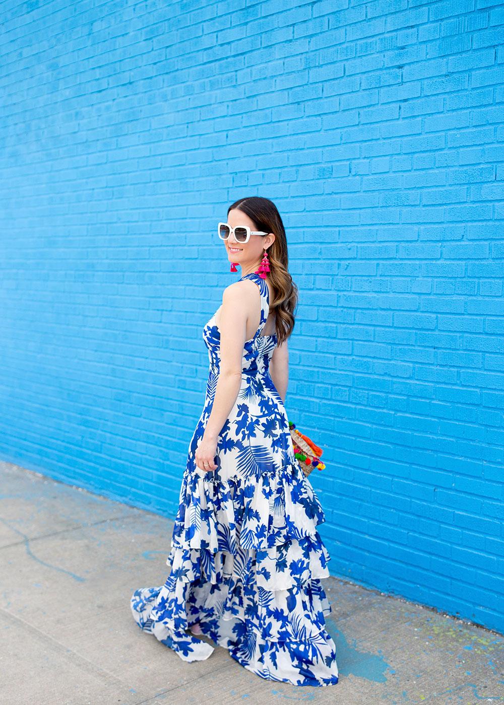 Blue White Print Maxi Dress