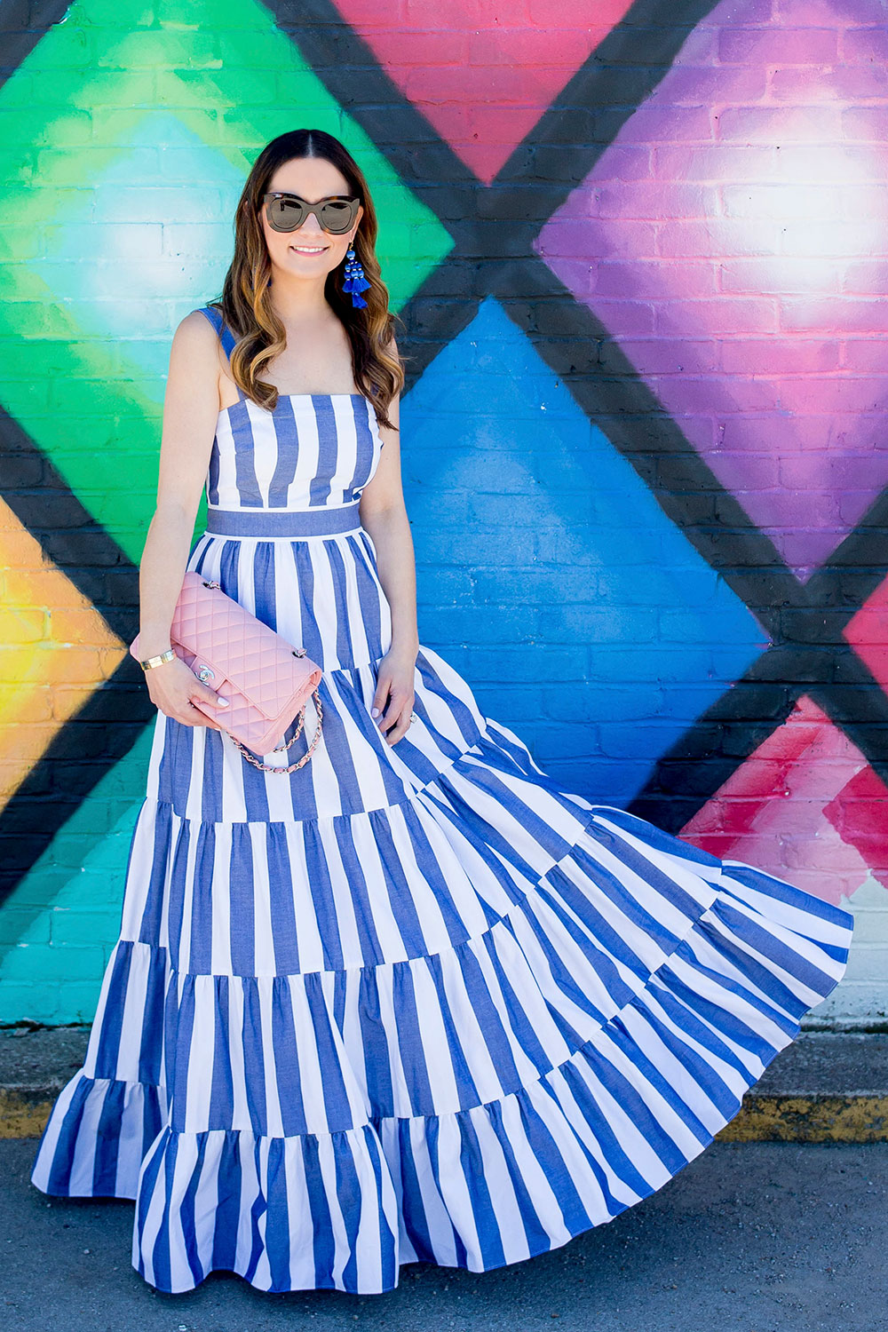 Eliza J Blue Stripe Maxi Sundress