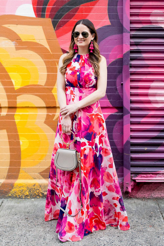 Eliza J Pink Purple Maxi Dress