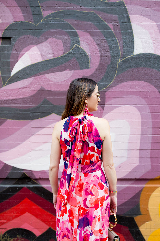 Floral Tie Back Maxi Dress