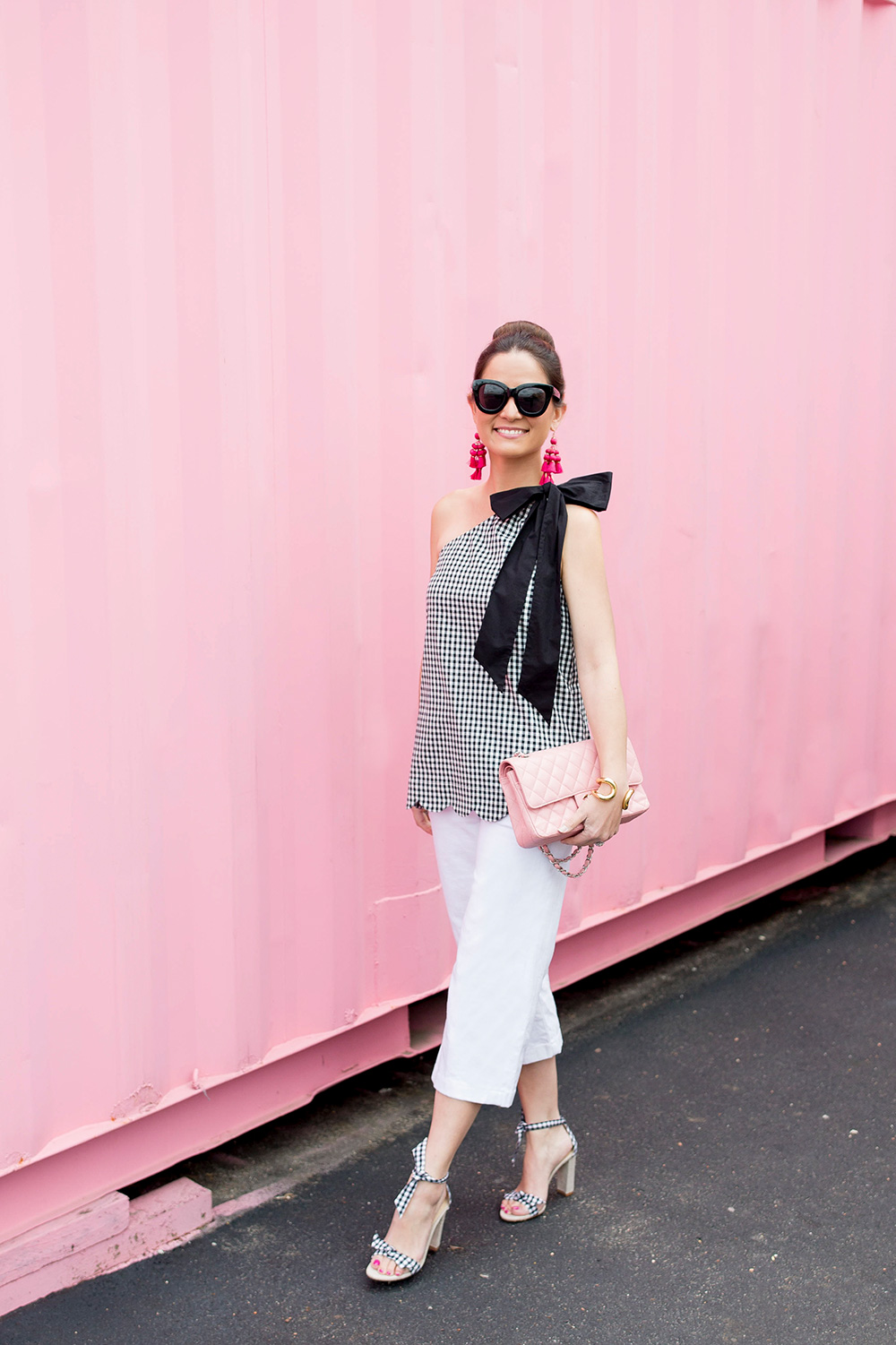 Gingham Scallop One Shoulder Top