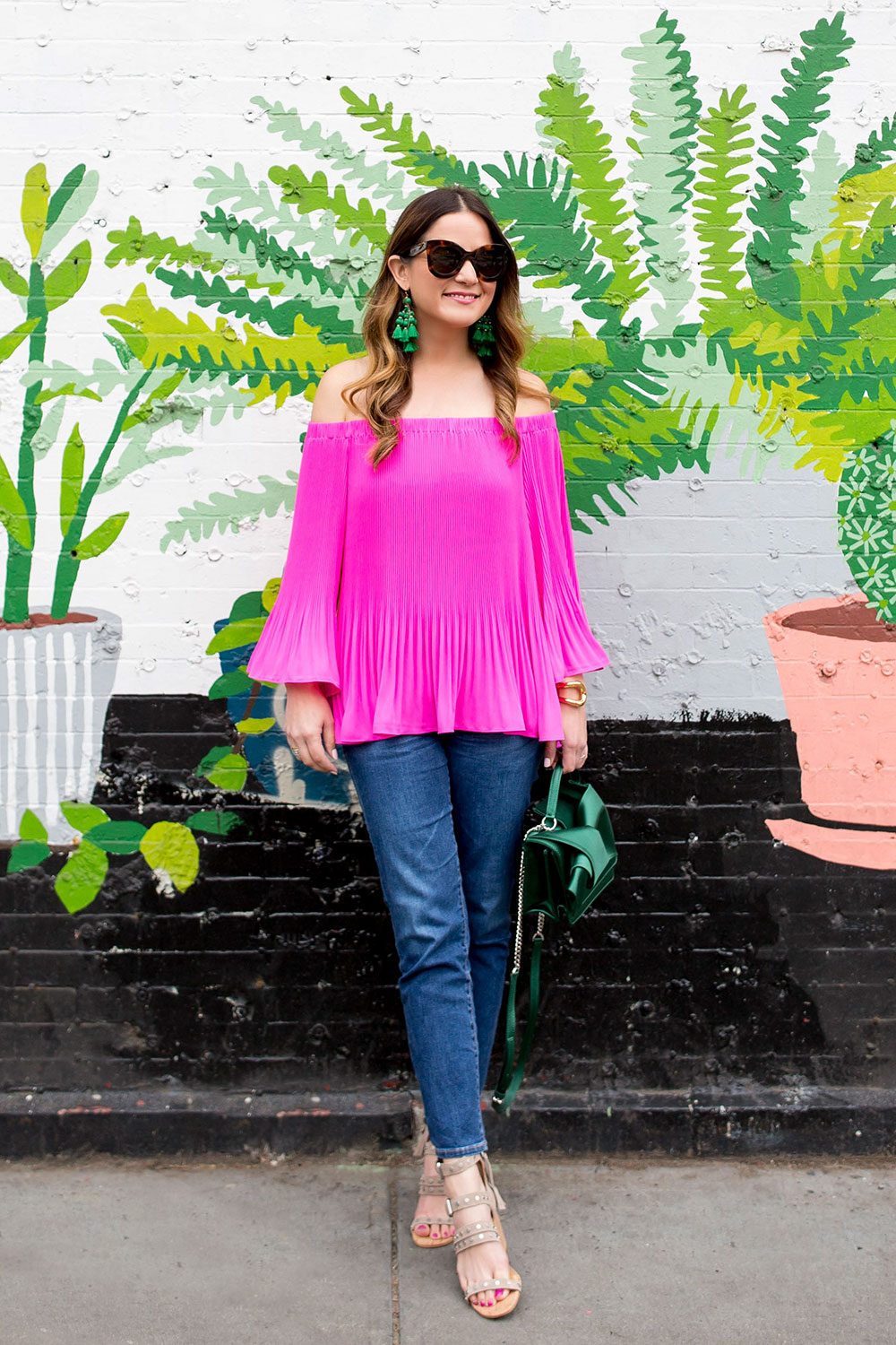 Pink Pleated Off Shoulder Blouse