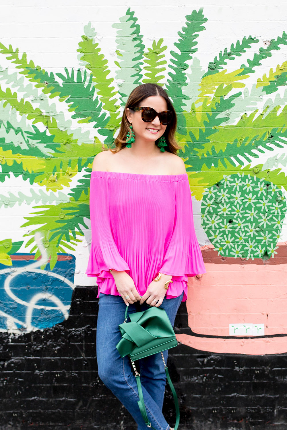 Pink Pleated Off Shoulder Top