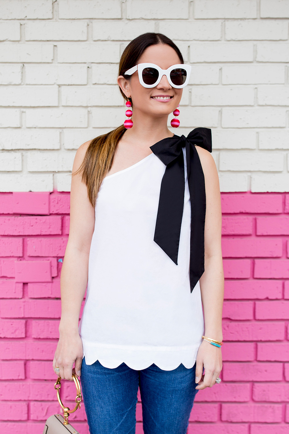 Scalloped One Shoulder Bow Top
