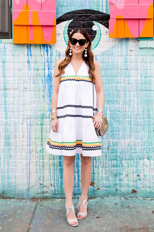 Squiggle Trim Cotton Dress