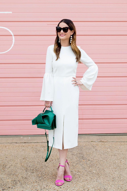 White Bell Sleeve Midi Dress