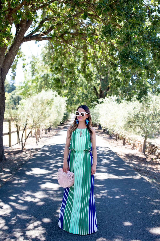 Adrianna Papell Green Stripe Dress