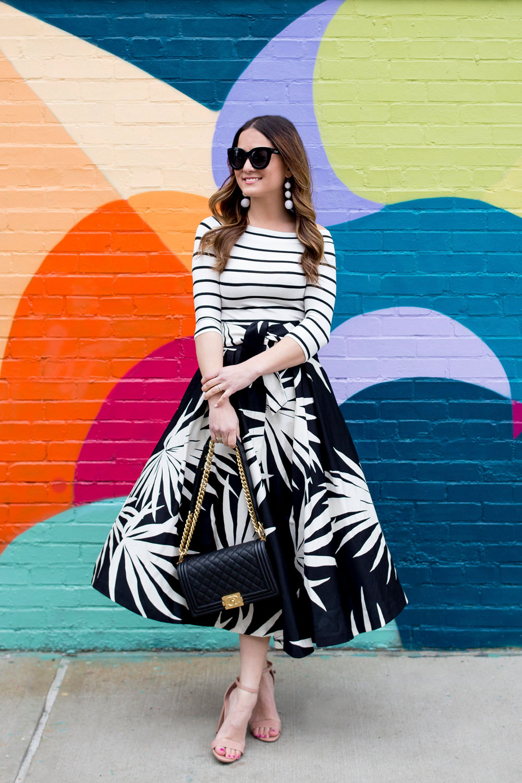Black White Palm Print Skirt