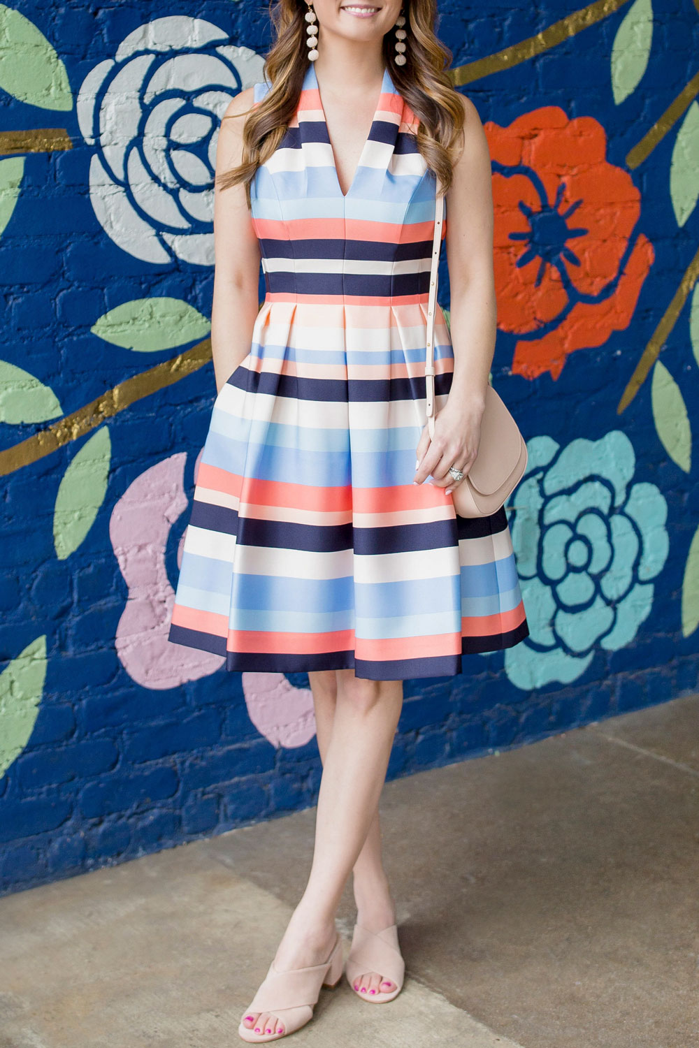 Blue Orange Coral Stripe Dress