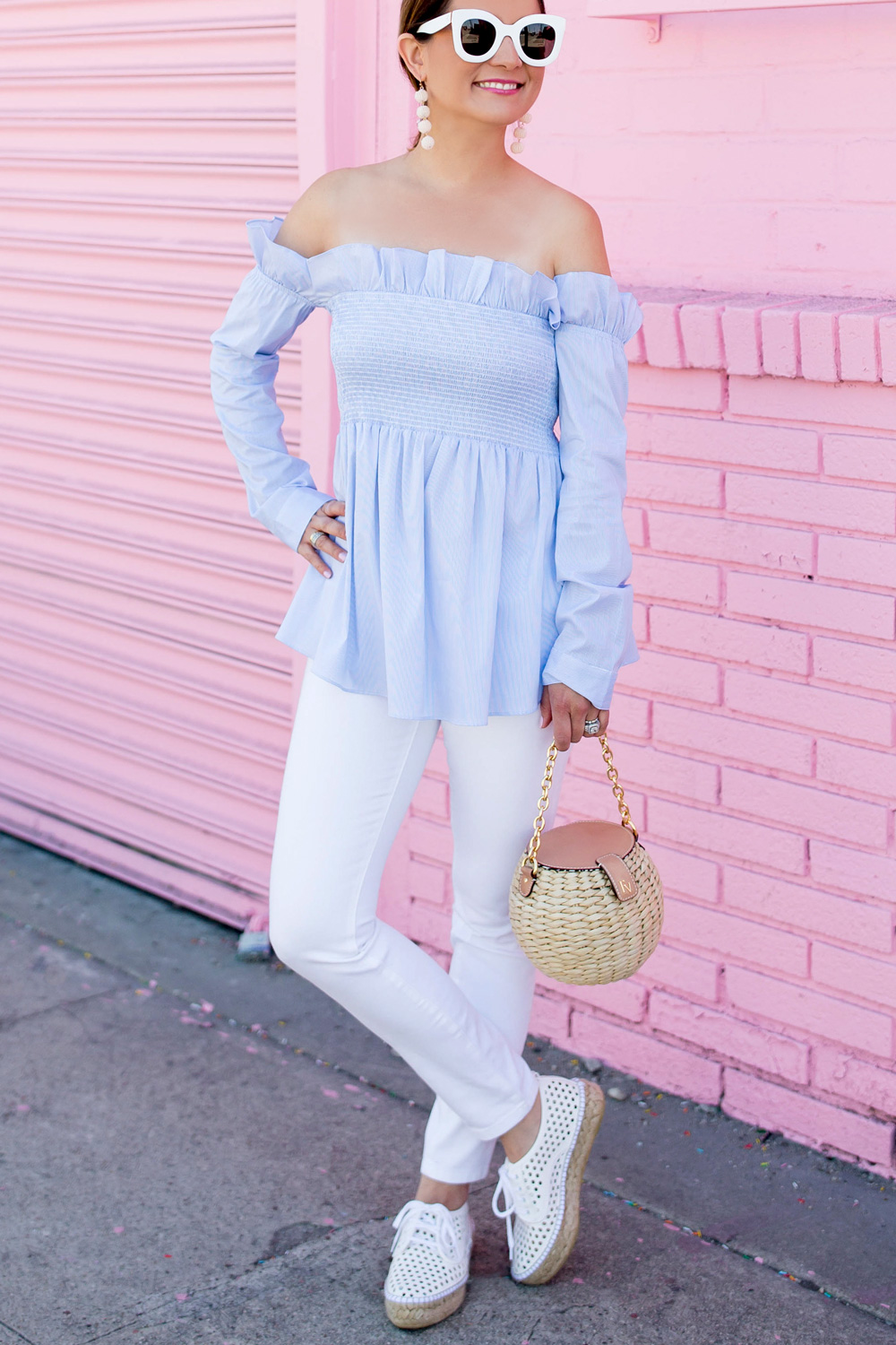 Blue Stripe Off Shoulder Ruffle Top