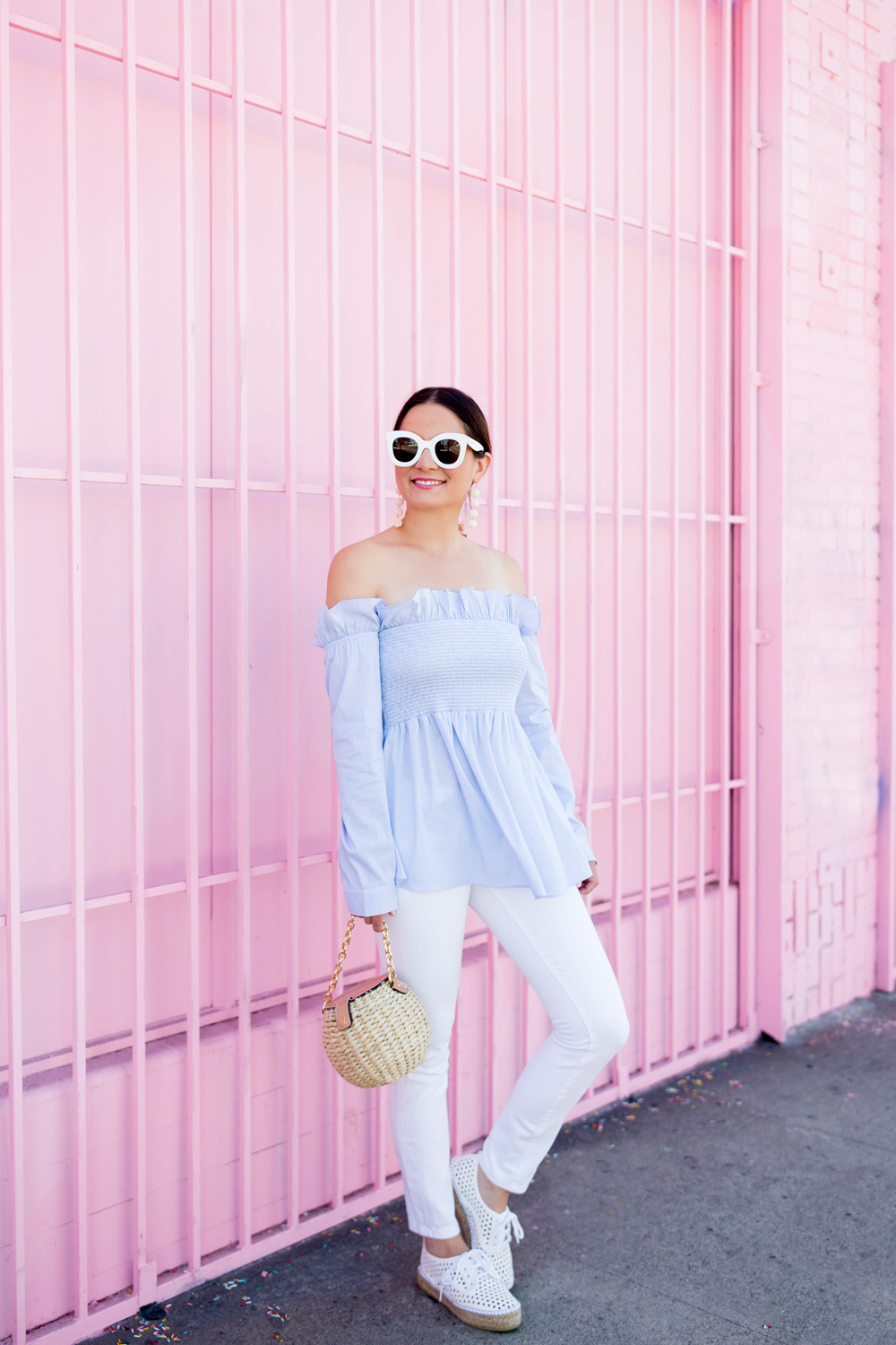 Blue Stripe Ruffle Long Sleeve Off Shoulder Top