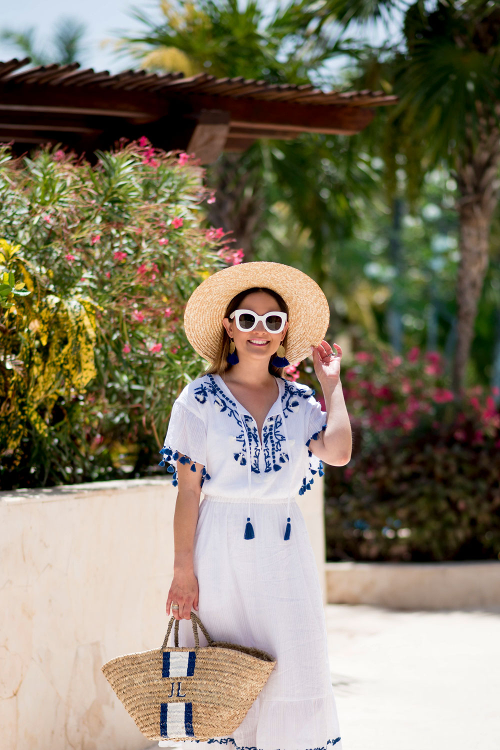 Blue White Tassel Trim Dress