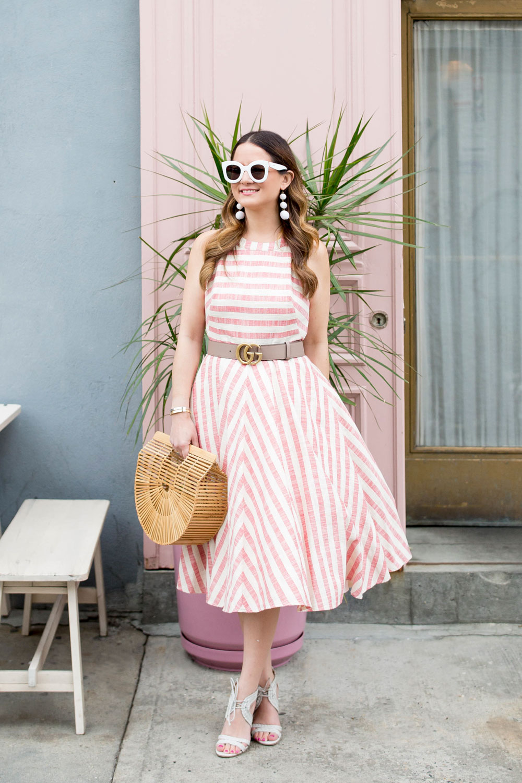 Eliza J Stripe Midi Dress