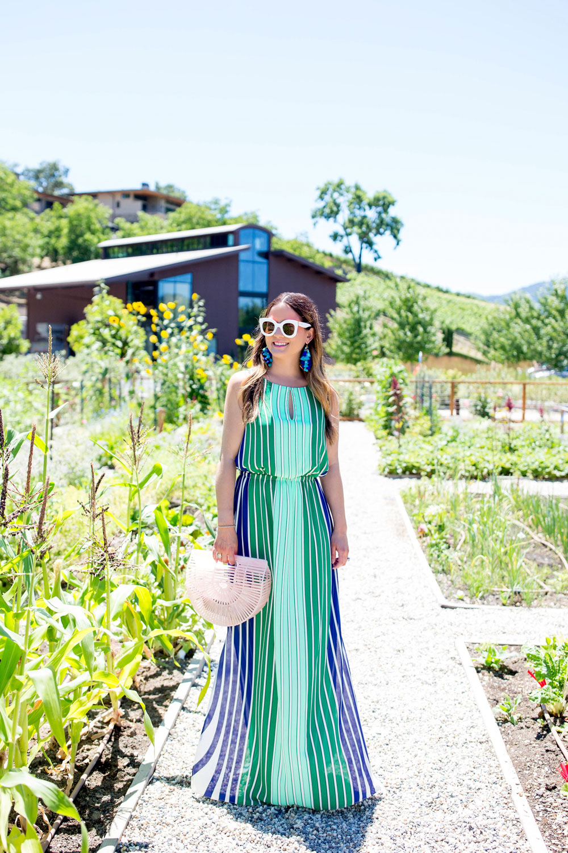 Green White Blue Stripe Maxi Dress