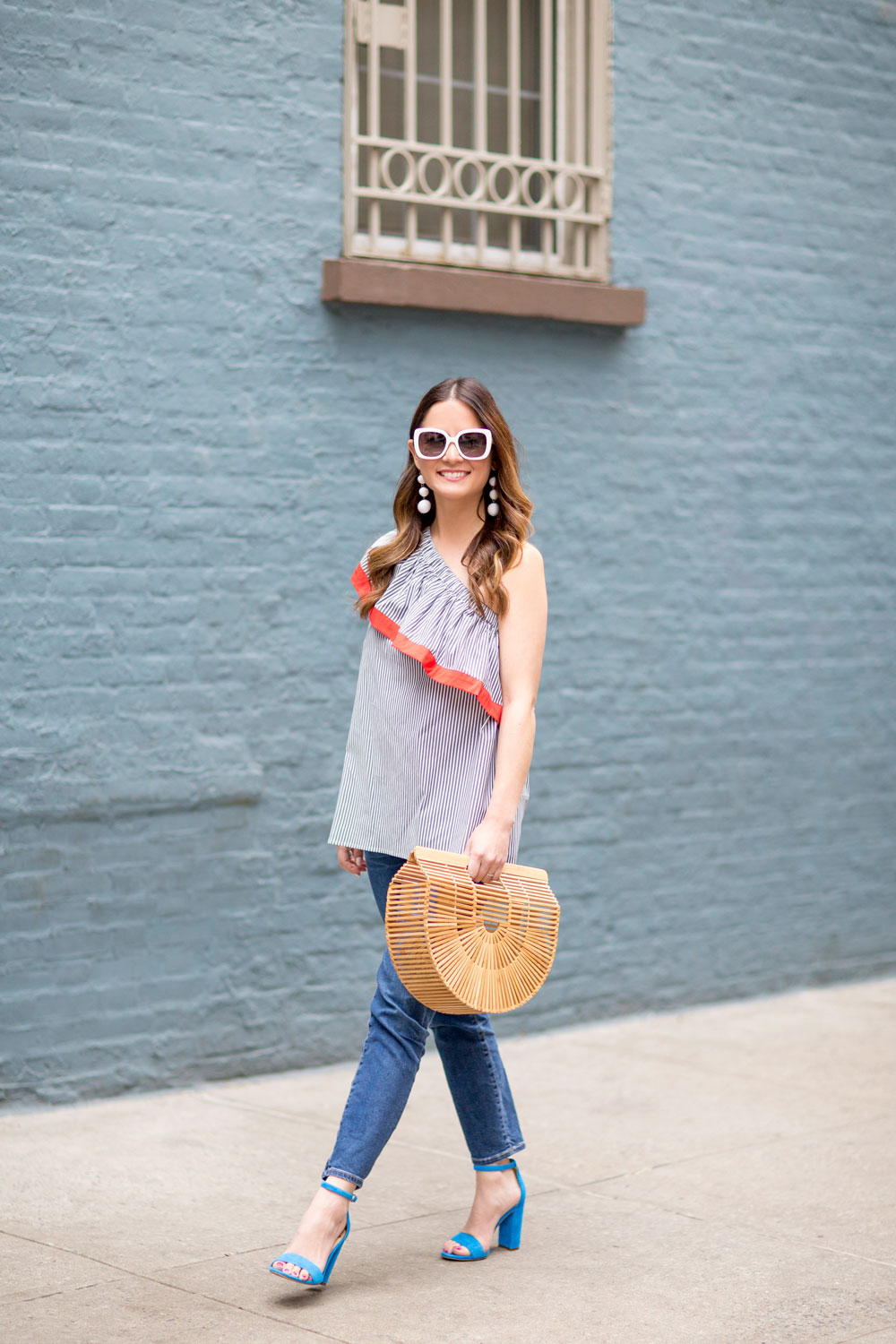 One Shoulder Stripe Ruffle Top