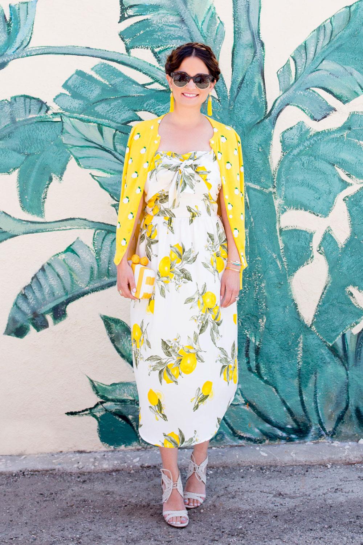 Lemon Print Tie Front Dress