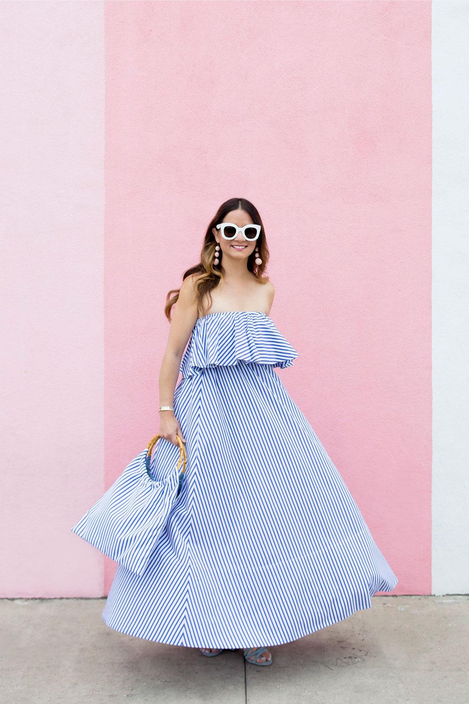 MDS Stripes Blue Ruffle Stripe Dress