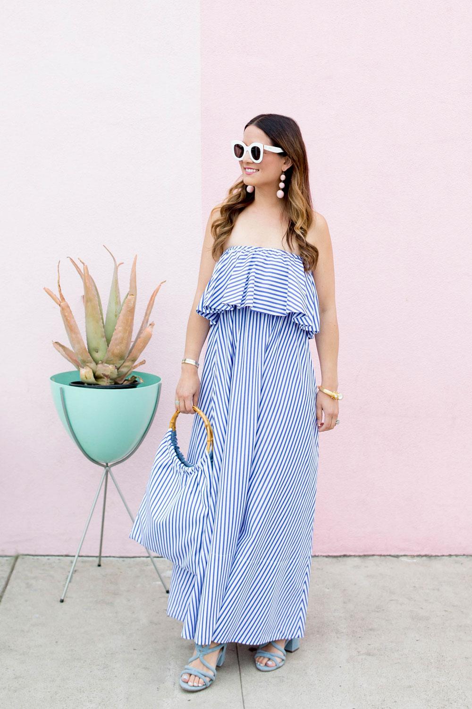 MDS Stripes Ruffle Stripe Dress