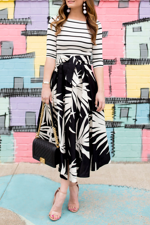 Milly Jackie Palm Print Skirt
