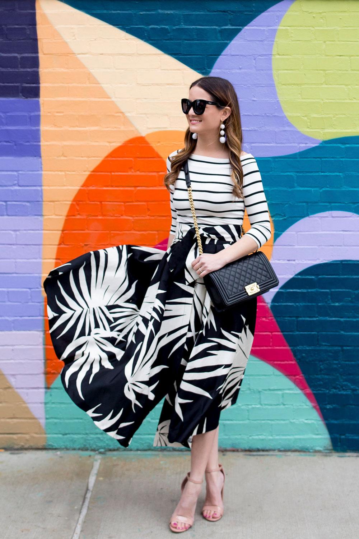 Milly Palm Print Skirt