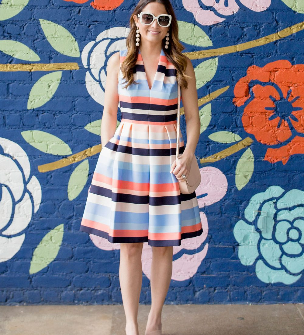 Multicolor Stripe Fit Flare Dress