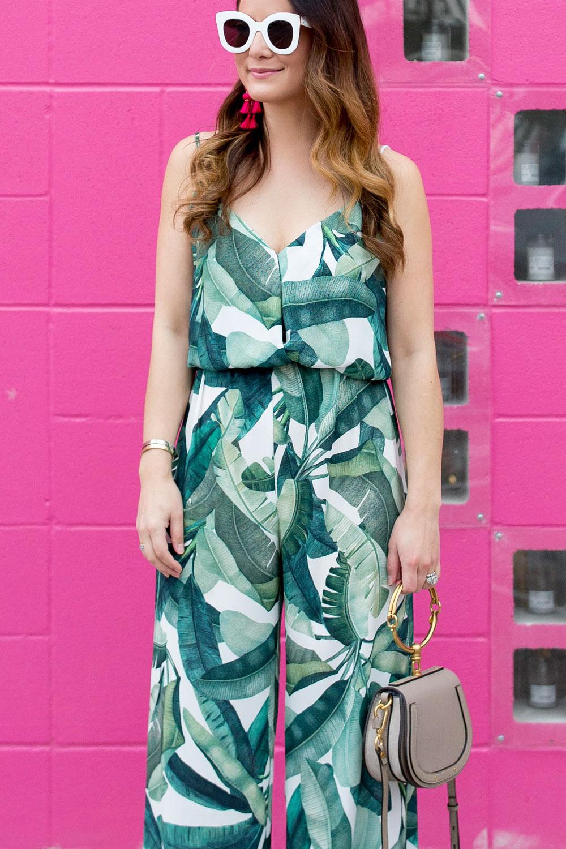 Palm Leaf Print Jumpsuit
