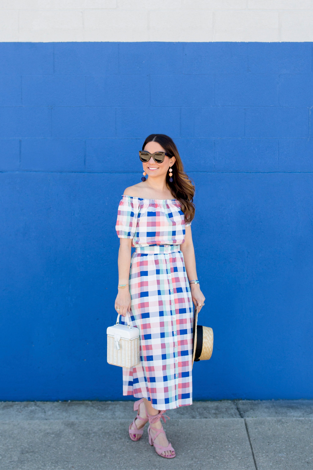 Pink Blue Gingham Outfit