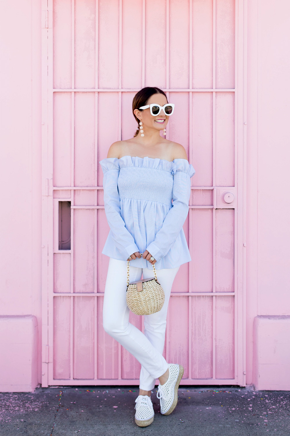 Ruffle Smocked Off Shoulder Top