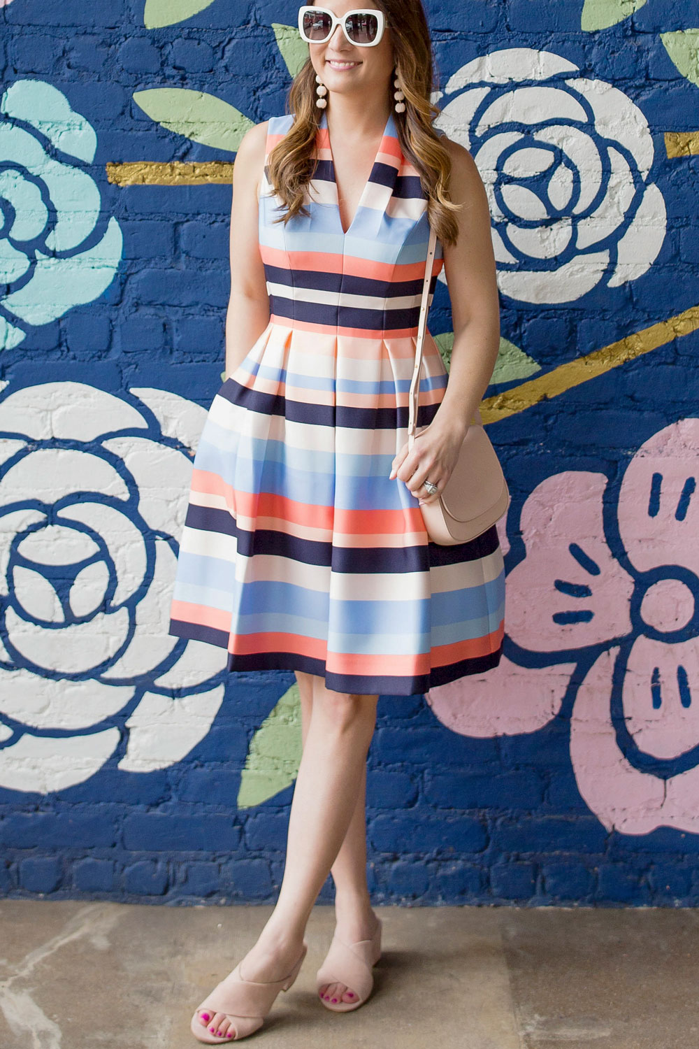 Vince Camuto Stripe Fit Flare Dress