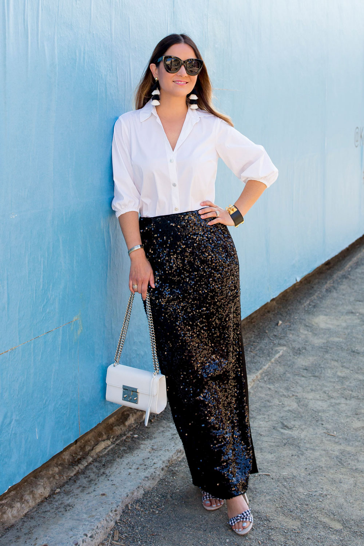 Worth New York Long Sequin Skirt