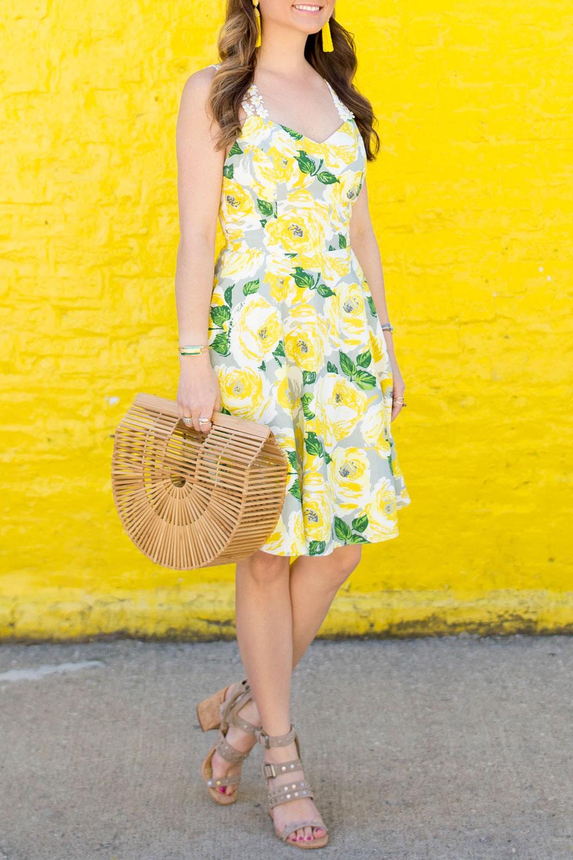 Yellow White Floral Dress