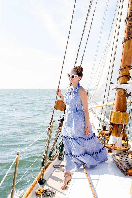 Blue Tassel Trim Midi Dress