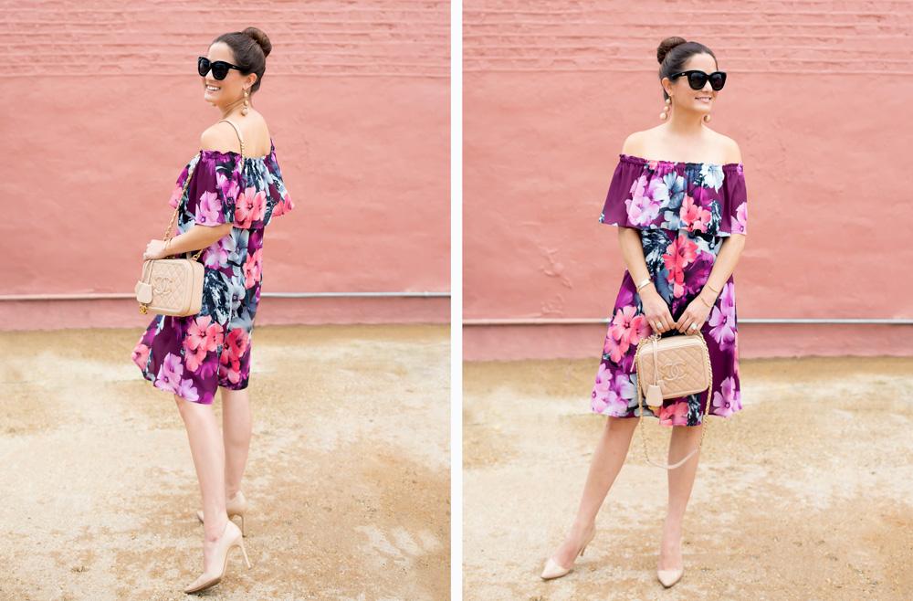 CeCe Floral Off Shoulder Ruffle Dress