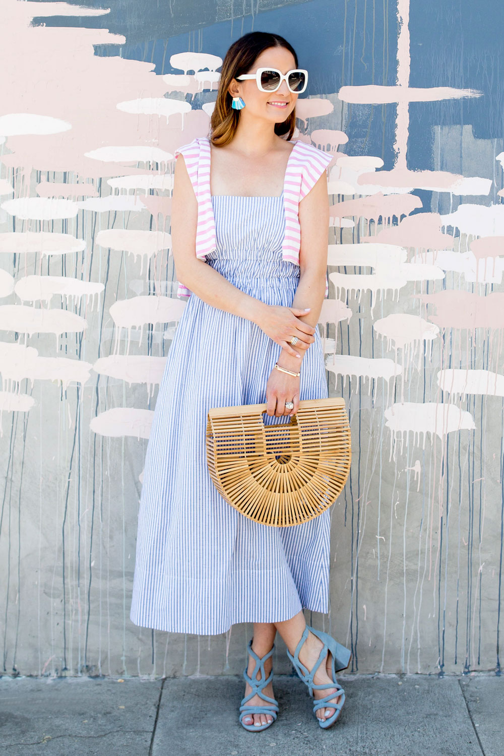 Club Monaco Blue Stripe Midi Dress